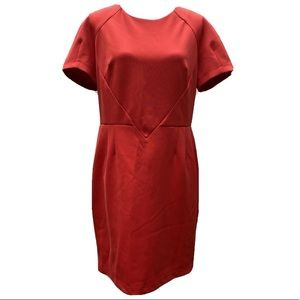 Topshop coral red knee length dress size 12